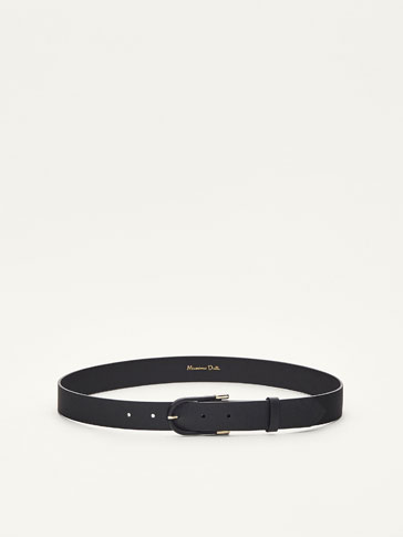 LEATHER BELT WITH BUCKLE DETAIL