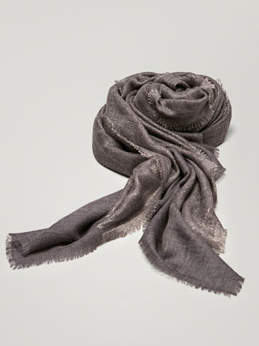WOOL FOULARD WITH SHIMMERY DETAIL