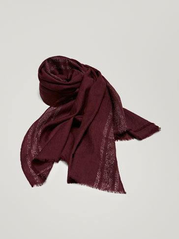 WOOL FOULARD WITH SHIMMERY STRIPES