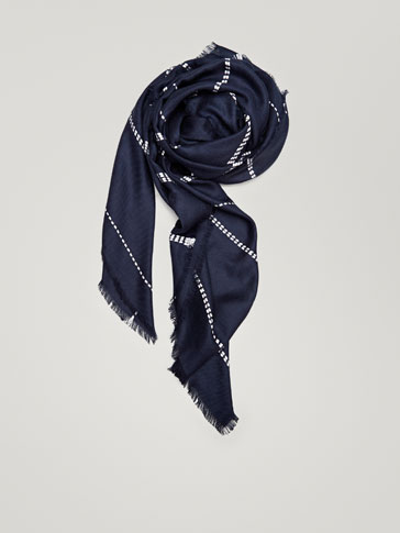 STRIPED FABRIC SILK FOULARD