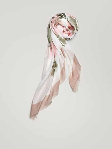 FLORAL PRINT FOULARD WITH BORDER