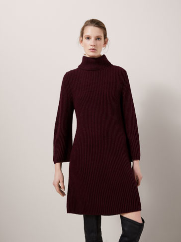 MAXI PURL KNIT SWEATER WITH PUFF SLEEVE DETAIL