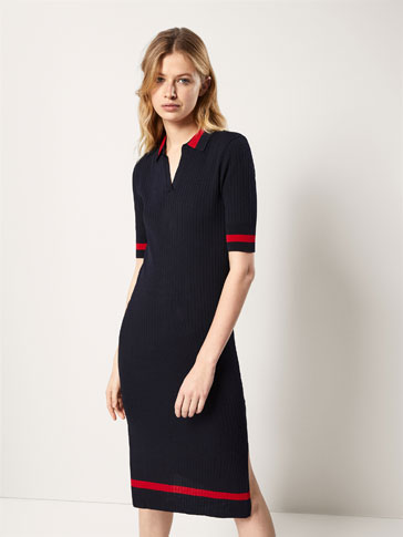 RIBBED DRESS WITH STRIPED DETAIL