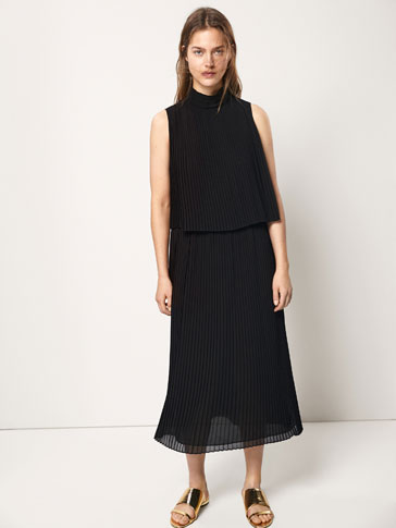 PLEATED DOUBLE LAYER DRESS