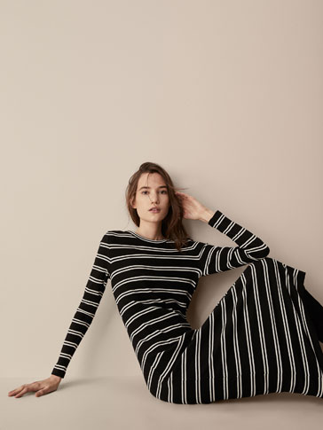 RIBBED STRIPED DRESS WITH EYELET DETAILS