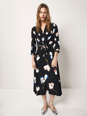 FLORAL PRINT DRESS WITH KNOT DETAIL