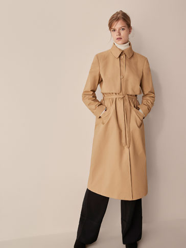 COTTON TRENCH COAT WITH BELT DETAIL