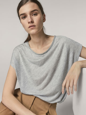 SHIMMERY T-SHIRT WITH METAL DETAIL