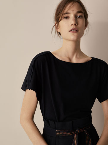 T-SHIRT WITH CONTRASTING LACE TRIM DETAIL