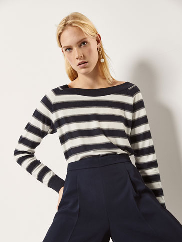 STRIPED SWEATER WITH BACK DETAIL