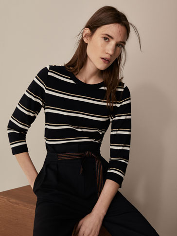 STRIPED T-SHIRT WITH SNAP BUTTONS
