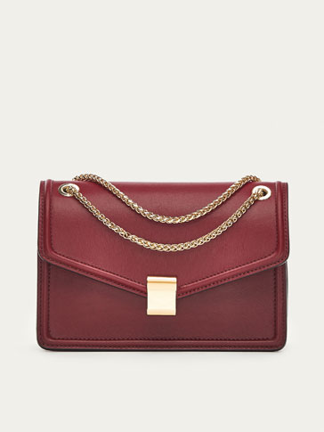LEATHER CROSSBODY BAG WITH CHAIN DETAIL
