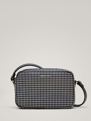 LEATHER GINGHAM CROSSBODY BAG