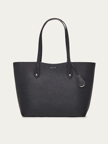 LEATHER TOTE BAG WITH TWO-TONE DETAIL