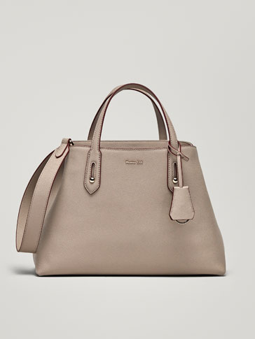 LEATHER HANDBAG WITH TWO-TONE DETAIL