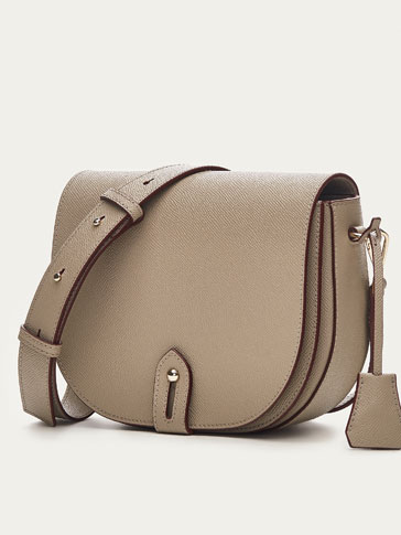 LEATHER CROSSBODY BAG WITH TWO-TONE DETAIL