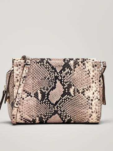SNAKESKIN EFFECT LEATHER CROSSBODY BAG