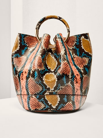 LIMITED EDITION LEATHER BUCKET BAG WITH SNAKESKIN FINISH