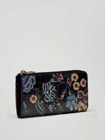 FLORAL PRINT LEATHER MOCK CROC FINISH WALLET WITH COIN PURSE