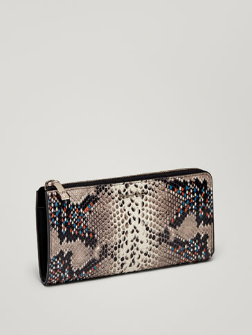 MULTICOLOURED LEATHER SNAKESKIN-EFFECT WALLET WITH COIN PURSE