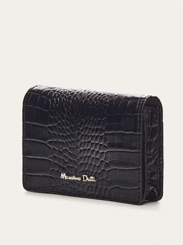 LEATHER CARD HOLDER WITH MOCK CROC FINISH