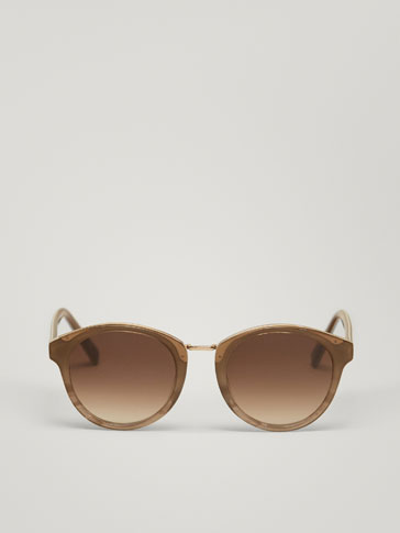 GREY SUNGLASSES WITH METAL DETAIL
