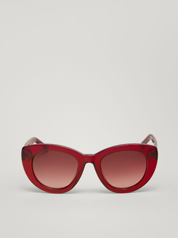 CAT-EYE BURGUNDY SUNGLASSES