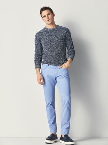 SLIM FIT BOUND TEXTURED WEAVE JEANS