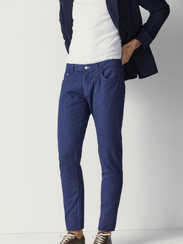 SLIM FIT EMBELLISHED TEXTURED WEAVE DENIM-EFFECT TROUSERS