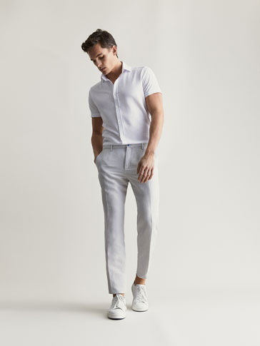 CASUAL FIT LINEN/COTTON HERRINGBONE TROUSERS