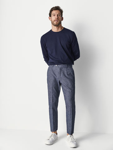 CASUAL FIT TEXTURED WEAVE COTTON/LINEN TROUSERS