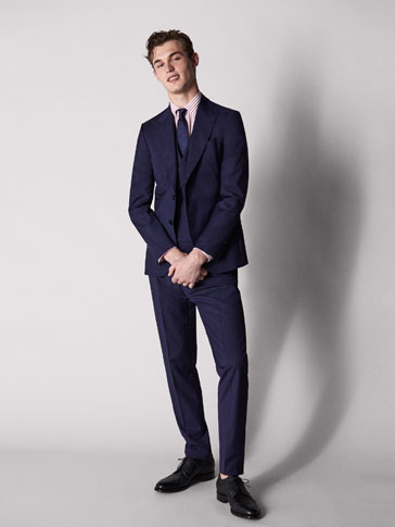 PERSONAL TAILORING SLIM FIT BLUE CHECKED WOOL TROUSERS