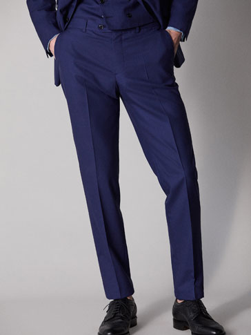 PERSONAL TAILORING SLIM FIT NAVY BLUE WORSTED WOOL TROUSERS