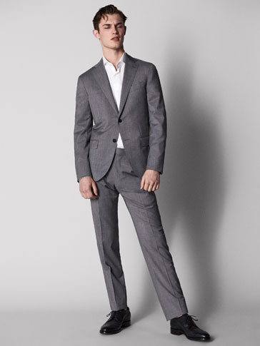 SLIM FIT TEXTURED WEAVE WOOL FULL CANVAS TROUSERS
