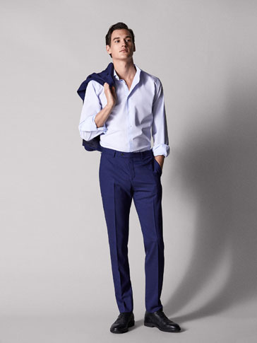 SLIM FIT TEXTURED WEAVE WOOL TROUSERS