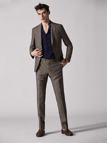 CHECKED LINEN/WOOL SLIM FIT TROUSERS