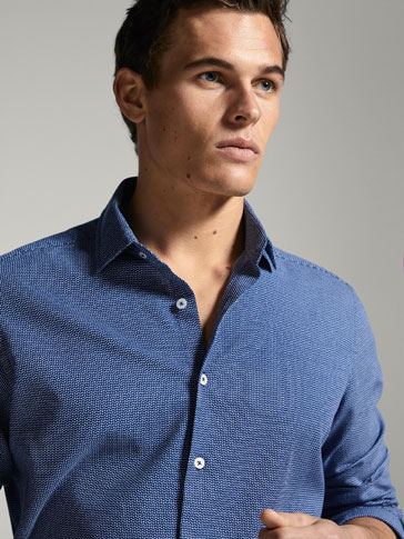 TWO-TONE SLIM FIT SHIRT WITH TEXTURED WEAVE