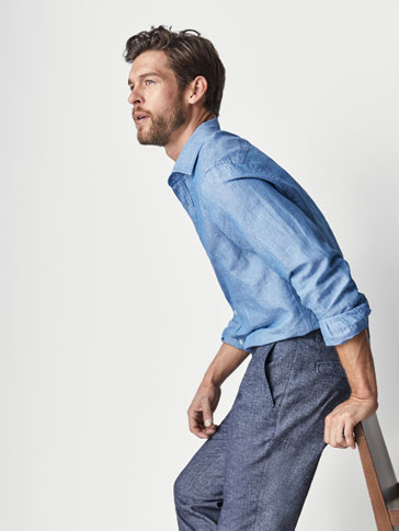 SLIM FIT DENIM CHAMBRAY SHIRT