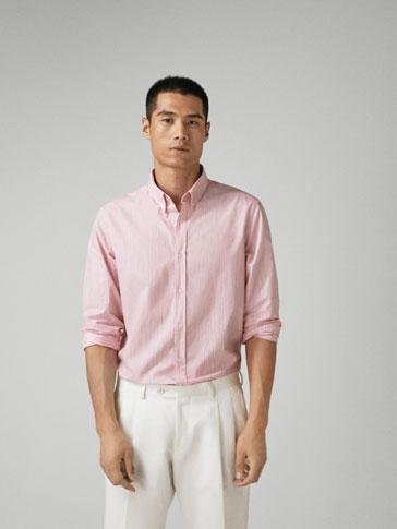 SLIM FIT STRIPED SHIRT WITH CONTRASTING DETAIL