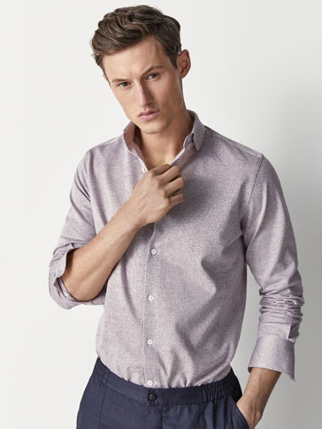 SLIM FIT KNIT TEXTURED WEAVE SHIRT
