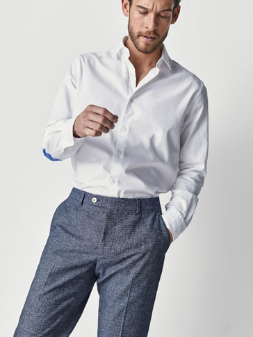 SLIM FIT TEXTURED WEAVE WHITE SHIRT WITH ELBOW PATCHES
