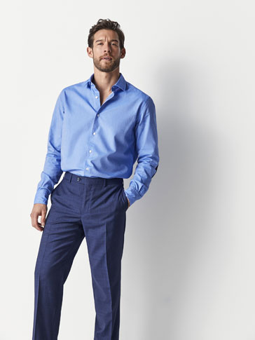 SLIM FIT TEXTURED WEAVE SKY BLUE SHIRT WITH ELBOW PATCHES