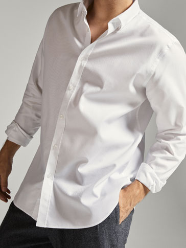 SLIM FIT TEXTURED WEAVE SHIRT WITH ELBOW PATCHES