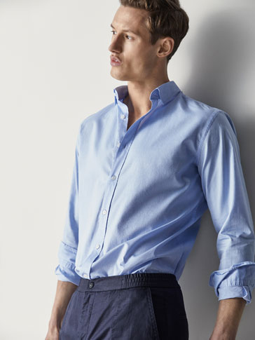 SLIM FIT PLAIN SHIRT WITH ELBOW PATCHES