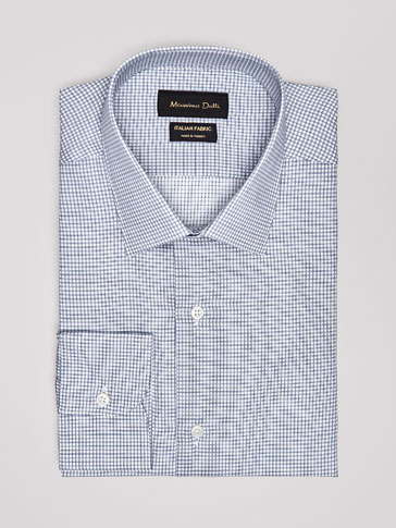 TAILORED FIT MICRO-CHECKED TWILL SHIRT