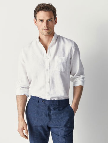 REGULAR FIT DYED LINEN SHIRT