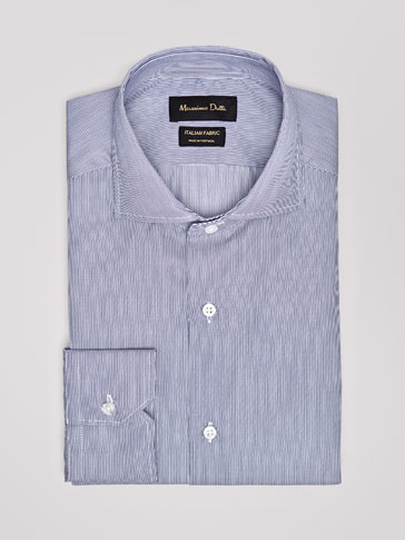 TRAVEL COLLECTION TAILORED FIT MICRO-STRIPED TWILL SHIRT