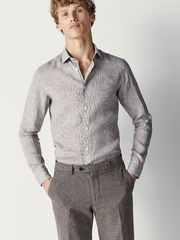 SLIM FIT HOUNDSTOOTH LINEN SHIRT