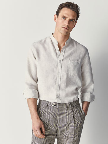 SLIM FIT PLAIN LINEN SHIRT