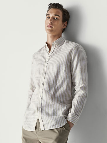 SLIM FIT STRIPED LINEN SHIRT WITH ELBOW PATCH DETAIL